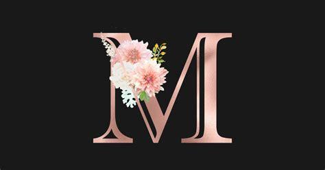 letter  rose gold monogram blush pink flowers   sticker teepublic uk