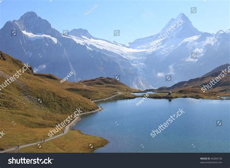 Direction Signs Alpine Hikes Alps Switzerland Stock Photo Swiss Alps Bachalpsee Hiking Trail Of Jungfrau Region In