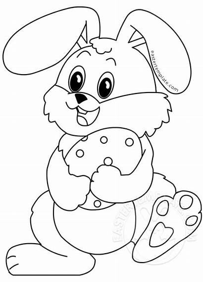 Easter Rabbit Happy Coloring Eggs Egg Template