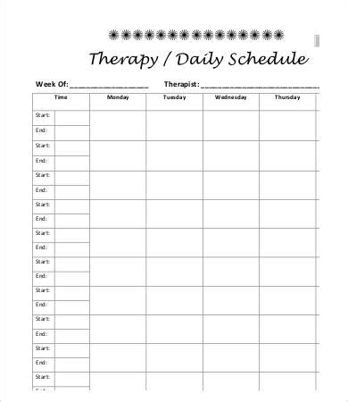 therapy schedule template   word  documents