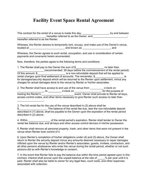 advanced event facility rental agreement ni