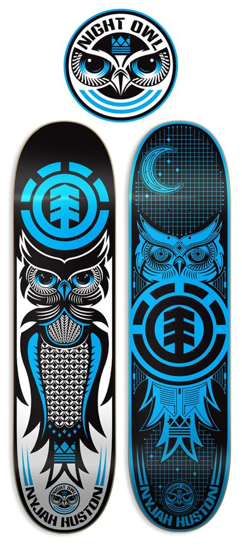 nyjah huston owl deck element skateboards by dan janssen via behance s k a