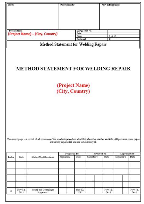 Method Statement for Welding Repair
