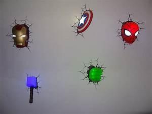 marvel comics avengers 3d deco wall art night light s With marvel wall art
