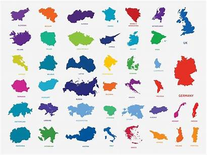 Countries Europe European Outlines Vector Country Map