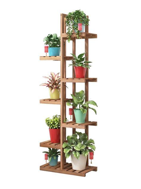 floor type simple flower pot rack wooden balcony sitting room multi storey flower plant display