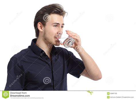 Attractive Happy Man Drinking Water From A Glass Stock