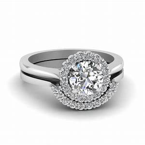 round cut floral halo diamond wedding ring set in 14k With floral wedding ring set