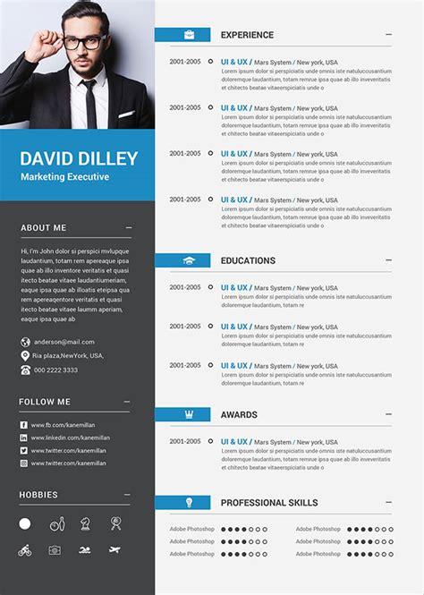 resume cv template  photoshop psd format  graphic web designers