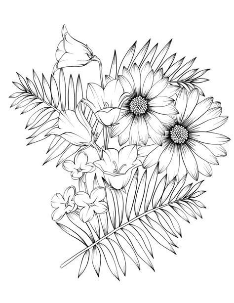 Adult Coloring Book Botanicum Flowers Digital Coloring 15