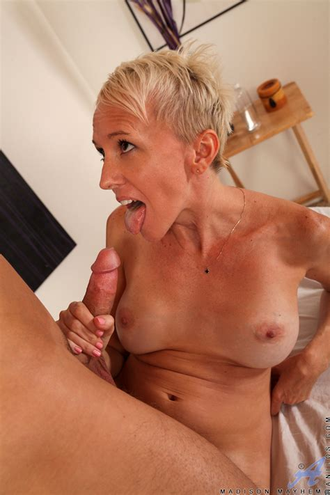 Seducing big titted milf Madison Mayhem is getting her nice pussy drilled