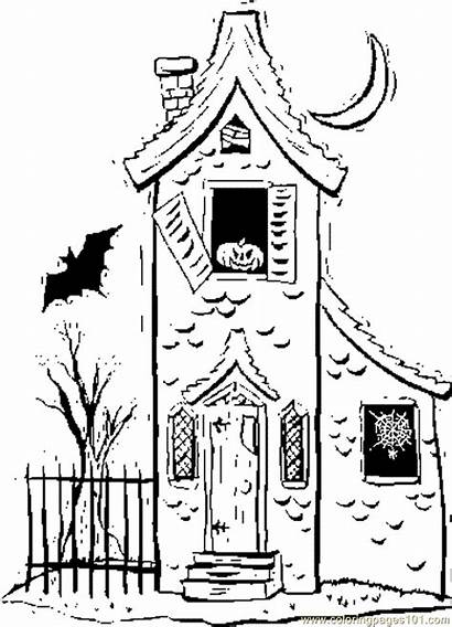 Haunted Coloring Ausmalbilder Haus Houses Halloween Printable