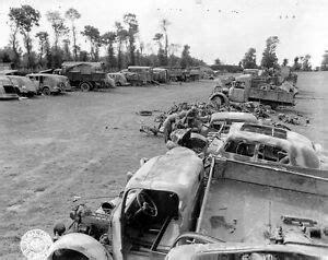 ww photo wwii junkyard allied  german vehicles wrecked