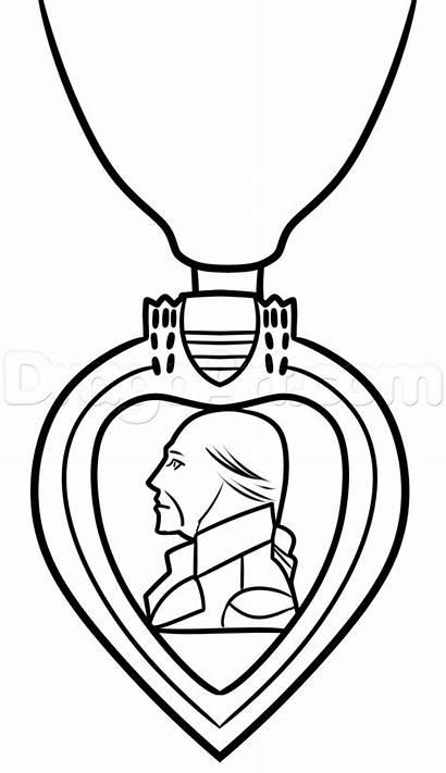 Purple Medal Heart Drawing Military Drawings Step