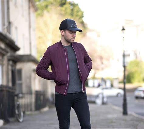 Calvin Klein Baseball Cap And Burgundy Bomber Jacket Outfit | Your Average Guy