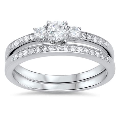 best price for wedding rings wedding set rings sterling silver rhodium plated best