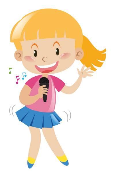 Clip Art Of A Cute Girl Singing Illustrations Royalty