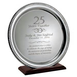 25 wedding anniversary gift ideas silver 25th anniversary personalized plate on wood base