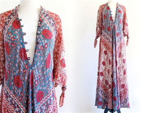 vintage adini cotton gold metallic gauze caftan hippie