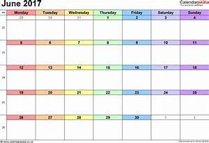Calendar June 2017 UK, Bank Holidays, Excel/PDF/Word Templates