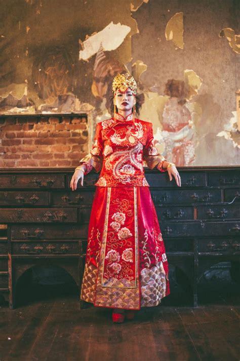 high fashion chinese  western wedding shoot rock