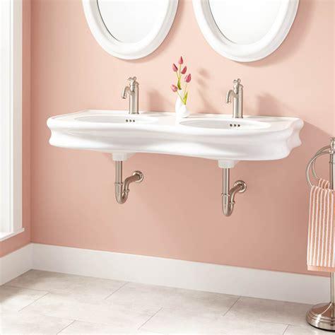 """46"""" Adler Doublebowl Porcelain Wallmount Bathroom Sink"""