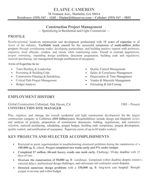 construction experience resumes construction manager resume example sample