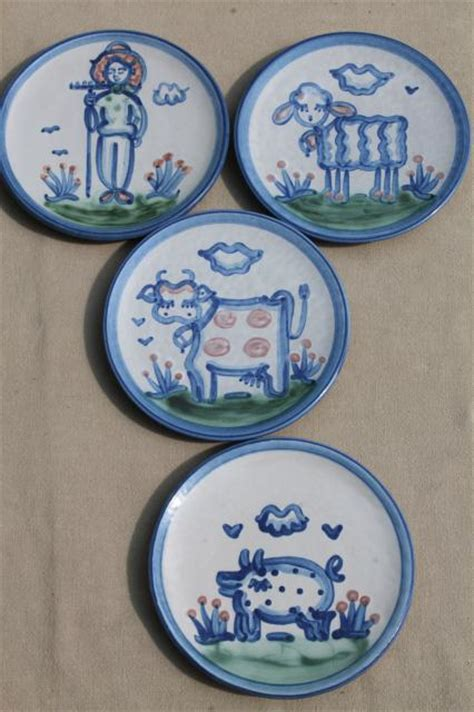 m a hadley louisville stoneware painted farm animals pottery plates bowls
