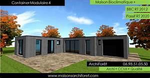 plan et photo maison plain pied en l ou plein pied en rez With plan gratuit de maison 9 maison container modulaire ossature bois d architecte
