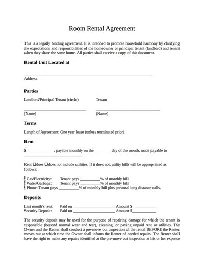 tenancy agreement templates  word format excel template