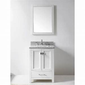 Transitional 24 inch white bathroom vanity with white for Bathroom vanities 24 inches wide