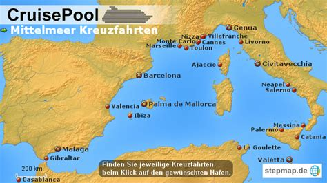 stepmap westliches mittelmeer kreuzfahrten landkarte