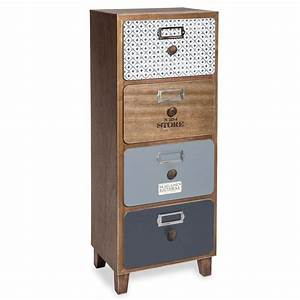Rangement Tiroir Bois : meuble de rangement 4 tiroirs imitation bois imprim ~ Edinachiropracticcenter.com Idées de Décoration