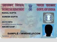 Sample PAN Card Permnanent Account Number India