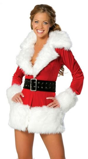 womens sexy long sleeve fur christmas santa costume red
