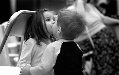 Kiss Friends Children Mood Bw Wallpaperup Wallpapers