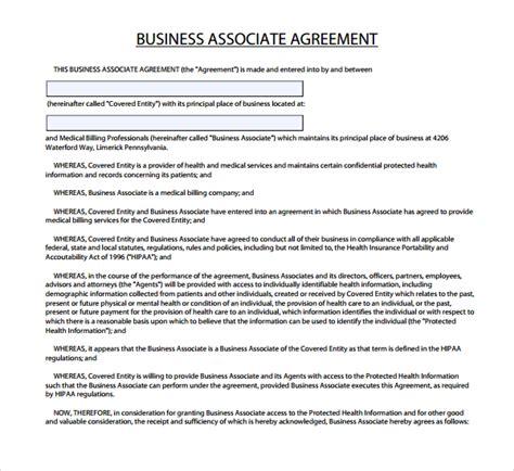 business associate agreement template 7 business associate agreement templates sle templates