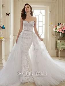 dramatic detachable train wedding dress designs for brides With train wedding dress