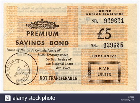 Scroll down to see if you've won anything in the latest monthly draw. £5 Premium Savings Bond bought in 1978 Stock Photo: 149696378 - Alamy