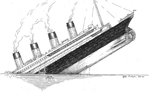 Boat Sinking Drawing by Titanic Sinking Drawing Www Pixshark Images