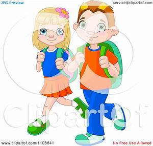 Clipart Boy And Girl Walking To School With Backpacks ...