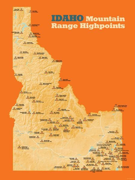 idaho mountain map range poster ranges points 18x24 maps fire lookouts ever newest release highpoints