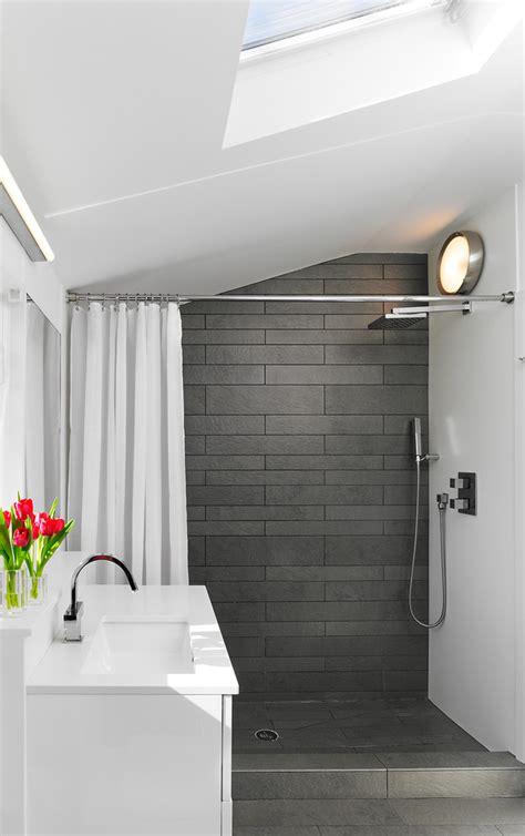 grey shower tile Bathroom Transitional with bath caddy