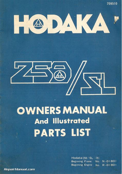 hodaka  sl  motorcycle owners manual
