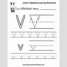 Free Letter V Alphabet Learning Worksheet For Preschool