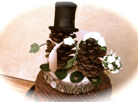 Pine Cone Wedding Topper Bride Groom Rustic Fall Weddings