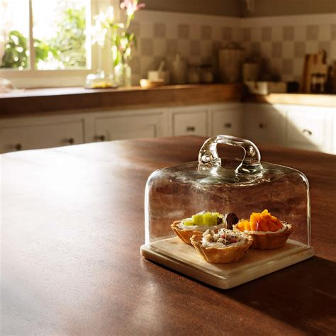 glass cloche  marble base square ellementry