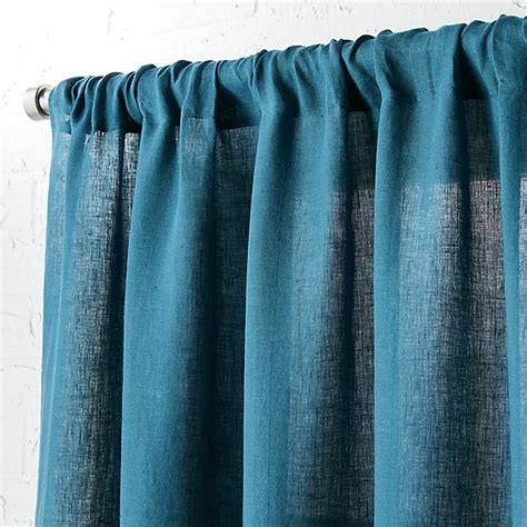 Teal 120 Inch Curtain Panel by Linen Teal Curtain Panel 48 Quot X96 Quot Cb2