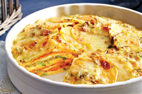 gratin de pommes de terre yukon gold et de patates douces