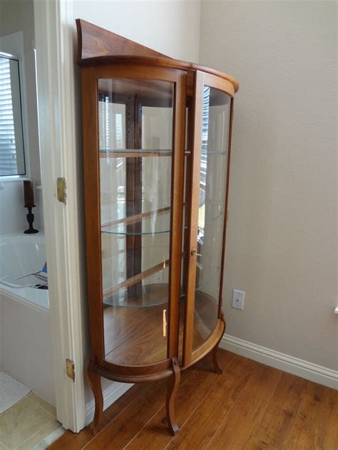 curved glass curio cabinet   antique furniture collection